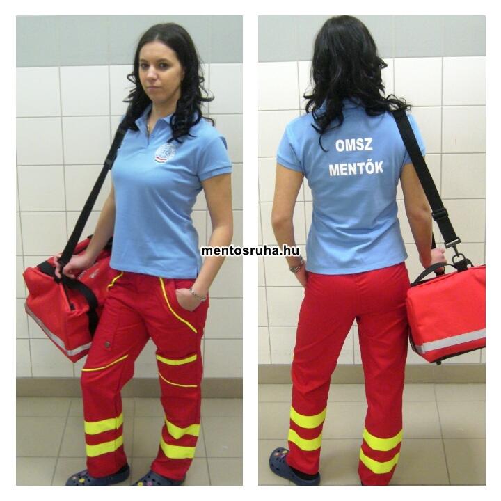 3e4f4629ca Női karcsúsított ingnyakas póló pamutból OMSZ felirattal 5205.-Ft/db-tól.  Rendelhető színek: fehér, rózsaszín, piros, bordó, világoskék, kék, fekete.
